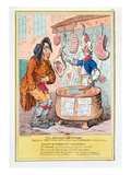 The British Butcher Supplying John Bull with a Substitute for Bread'  1795 (Colour Litho)