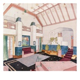 Jugendstil or Early Modernist Style Living Room (Colour Litho)