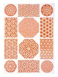 Stucco Decoration: Various Geometric Patterns  19th Century (Print)