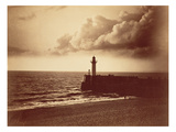 Breakwater at Sete  C1855 (Albumen Print from a Collodion-On-Glass Negative)