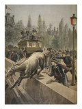 A Horse Committing Suicide  Illustration from 'Le Petit Journal: Supplement Illustre'  1898