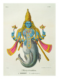 Matsyavatara or Matsya  from 'L'Inde Francaise'  Engraved by Marlet and Cie  Pub Paris 1827-1835