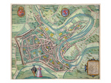 Map of Luxembourg  from 'Civitates Orbis Terrarum' by Georg Braun (1541-1622)