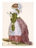 Lady&#39;s Elaborate Gown in Burgundy and Green  Engraved by Dupin  Plate No200