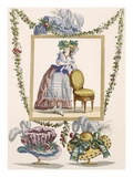 Woman in Elegant Day Dress with Hat  Engraving by Duhamel  Plate No235