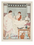 Gynaecological Examination  Illustration from 'The Works of Hippocrates'  1934 (Colour Litho)