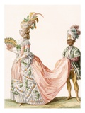 Lady's Elaborate Evening Gown  Engraved by Le Roi  from 'Galeries Des Modes Et Costumes Francais'
