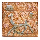 Pl 26 Persian Lustred All-Tile: a Mounted Sassanian Archer  19th Century (Colour Litho)