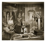 Decorative Trade Stand at Dorland Hall with Hanging Textile  1940S (B/W Photo)