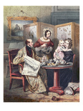 Victorian Family at Breakfast  C1840 (Colour Litho)