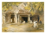 The Cave of Elephanta  from 'India Ancient and Modern'  1867 (Colour Litho)