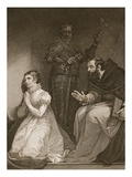 Feckenham by Order of the Queen Visits Lady J Grey in the Tower  Engraved by W Bromley