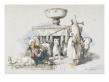 The Fountain of the Lions  Vignette from 'sketches and Drawings of the Alhambra'  1835 (Litho)