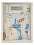 Pouring Water over the Patient  Illustration from 'The Works of Hippocrates'  1934 (Colour Litho)