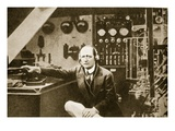 Guglielmo Marconi in the Wireless Cabin of His Yacht  Elettra (Sepia Photo)