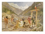 Pilgrims at Gangootree  from 'India Ancient and Modern'  1867 (Colour Litho)