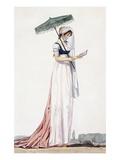 Ladies Elegant Summer Dress with Parasol  by Delacourt  1770 (Colour Engraving)