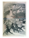 Metamorphosis - Black Cats Transforming Themselves into Witches  Late 19th Century (Colour Litho)