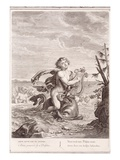 Arion Preserved by a Dolphin  1731 (Engraving)