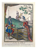 A Game of Billiards  Late Seventeenth Century (Coloured Engraving)