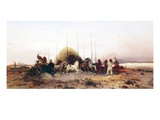 Threshing Wheat  New Mexico  C1883 (Oil on Panel)