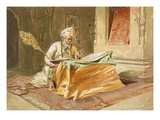 Sikh Priest Reading the Grunth  Umritsar  from 'India Ancient and Modern'  1867 (Colour Litho)