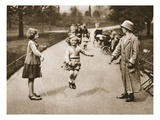 A Girl Skipping in Hyde Park or Kensington Gardens  from 'Wonderful London'  Published 1926-27
