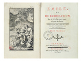 Frontispiece for 'Emile' by Jean-Jacques Rousseau  1762 (Engraving)