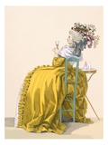 Lady Reclines on Chair Drinking Champagne  Engraved by Dupin  Plate No193