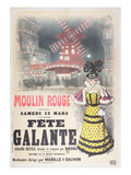Poster Advertising a 'Fete Galante' at the Moulin Rouge  Montmartre  Paris Late 19th Century
