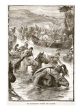 The Macedonians Crossing the Jaxartes (Litho)