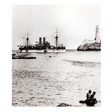 The Uss Maine Entering the Port of Havana  Cuba  1898 (B/W Photo) (See 206526  206527)