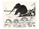 The Elephant's Child Having His Nose Pulled by the Crocodile