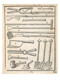 Garden Tools  from 'The Dutch Gardener' by Johann Van Der Groen  Published 1699 (Engraving)