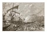 Landing of Julius Caesar in Britain (Litho)
