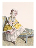 Lady in Morning Gown in Lemon and Pink  Engraved by Dupin  Plate No55