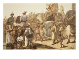 March of the Indian Army  Engraved by WJ Palmer (Coloured Engraving)