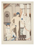 Massage  Illustration from 'The Works of Hippocrates'  1934 (Colour Litho)