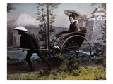 Young Japanese Woman in a Rickshaw  C1890 (Coloured Photo)