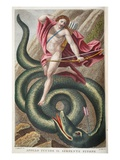 Serpent Defeated by Phoebus  Illustration from Ovid's Metamorphoses  Florence  1832