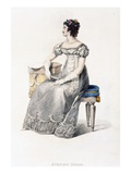 Evening Dress  Fashion Plate from Ackermann's Repository of Arts (Coloured Engraving)