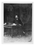 Emile Zola (1840-1902) in His Study (B/W Photo)