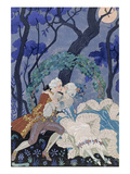 Secret Kiss  Illustration for 'Fetes Galantes' by Paul Verlaine (1844-96) 1928 (Pochoir Print)