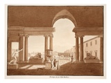 Portico of the Villa Medici  1833 (Etching with Brown Wash)