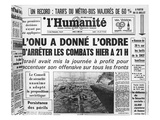 Announcement in the French Communist Newspaper 'L'Humanite' of the United Nations Resolution