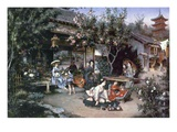Yoshiwara  Japanese Leisure Area  1887 (Oil on Canvas)