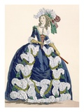 Elaborate Royal Court Dress in Navy Blue with Luxuriant White Frill Design
