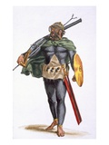 A Warrior of the Cap Verde Islands  from 'History of Travels'  1780 (Hand-Coloured Engraving)
