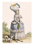 Lady Walking Her Dog  Engraved by Voysard  Plate No28