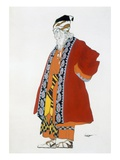 Costume Design for an Old Man in a Red Coat (Colour Litho)